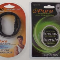 Set 2 Sportline White Wrist Band 1200 Black Necklace Infused iPure Negative Ions