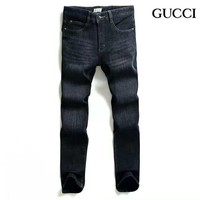 GUCCI 2018 new autumn and winter new plus velvet men's stretch jeans