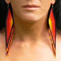 Extra Long Dangle Earrings -  Yellow, Orange, Red and Black. Very Long Fringe Shoulder Dusters