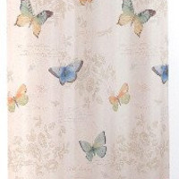 """Butterfly Bliss Fabric Shower Curtain, Multicolor 70"""" x 72"""""""