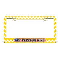 Let Freedom Ring - USA Country Flag - License Plate Tag Frame - Yellow Chevrons Design