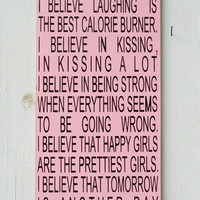 I Believe In Pink Painted Wood Primitive Sign Audrey Hepburn Quote