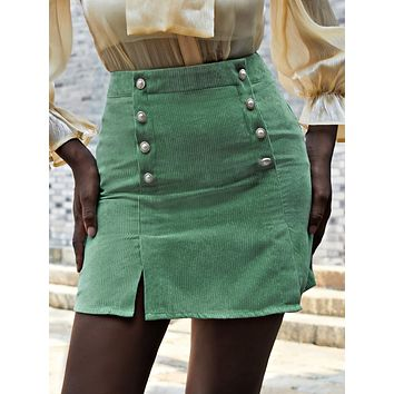 Corduroy Double Breasted Split Hem Skirt
