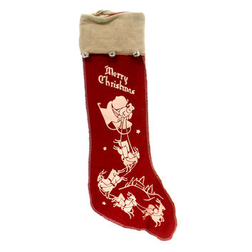 Christmas FELT STOCKING WITH BELLS Fabric Santa Reindeers 2269 Sleigh