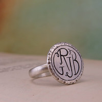 Personalized 3-Letter or 4-Letter Monogram Ring