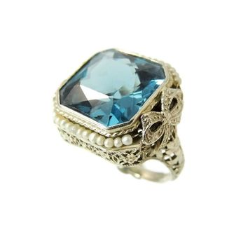 Estate Art Deco 14k Filigree Bow Ring BIG Blue Spinel 12.59 ct w Seed Pearls