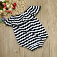 Toddler Infant Baby Girl Stripe Romper Jumpsuit Outfits