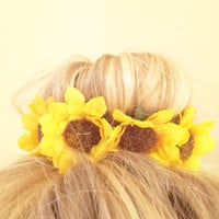 Vintage Floral Inspired Bun Cover for Top Knots Sock Buns and Messy Buns in Sunflower Yellow Colored Flowers Girly Hipster Mini Crown
