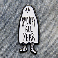 """Spooky All Year"" Ghost Enamel Pin"