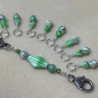 Knitting Bag Lanyard & Stitch Markers- Green Stripes