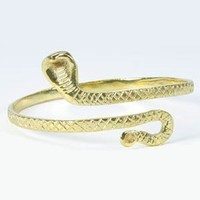 Belly Dancing Fashion Trendy Single Snake Arm Band Cuff - Gold
