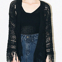 Black Tassel Knitted Cardigan And Vest