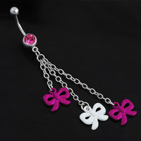 New Charming Dangle Crystal Navel Belly Ring Bling Barbell Button Ring Piercing Body Jewelry = 4804854468