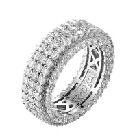 Sterling Silver 3 Row Solitaire Bling Men's Band
