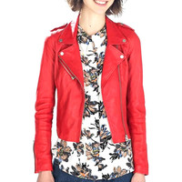 Red Leather Cropped Jacket
