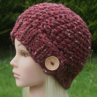 Hand Knit Hat Women's hat- Rustic Mega Chunky with wool- beanie hat- cranberry tweed with natural wooden button