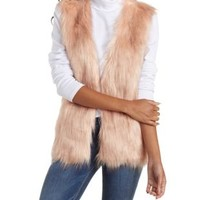Nude Pink Faux Fur Sweater Vest by Charlotte Russe