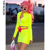 BOOFEENAA Neon Pink Green Sexy 2 Piece Set Women Bodycon Long Sleeve Crop Top and Skirt Fashion Outfits Spring 2019 C70AC84