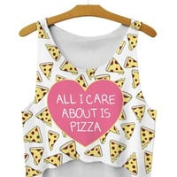 "Summer Style Sleeveless Women T-shirt ""All I Care About is Pizza"" Printing Crop Top Cartoon Bustier Sport = 1956701124"