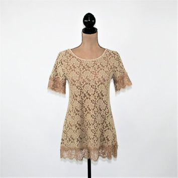 Romantic Lace Top Short Sleeve Boho Top Sheer Beige Tops for Women Dressy Lace Tunic Top Long Blouse Brown Boho Clothing New Womens Clothing