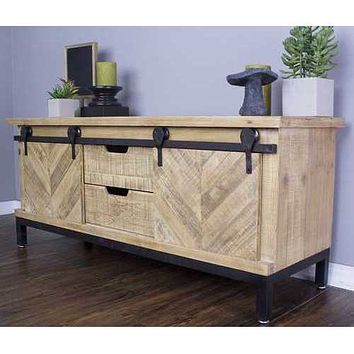"Natural Wood Iron, Wood, MDF Natural Wood TV Stand with  Doors and  Drawers 50"" X 18"" X 24"""