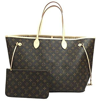 Louis Vuitton Neverfull GM Monogram Beige Handbag Tote Bag
