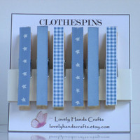 Wood Clothes Pin, Baby Shower Favors, Baby Blue - Set of 6