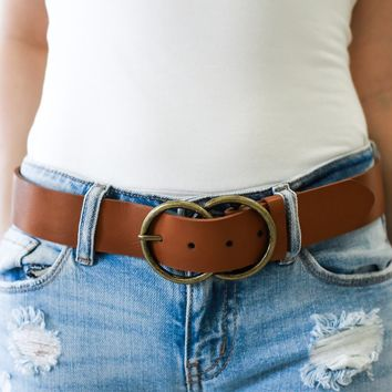 Double Or Nothing Cognac Belt - Gold