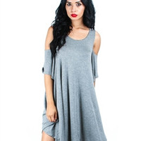Over Sized Open Shoulder Tunic Dress(Grey)