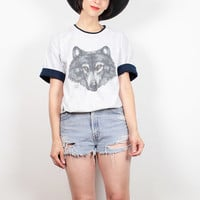Vintage Gray WOLF Tshirt 1990s Tshirt Heather Gray Navy Blue Cuffed Sleeve Animal Tshirt Boho 90s Wolf T shirt Soft Grunge Tee M L Large XL