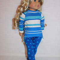 blue stripe high low long sleeve shirt, blue heart print leggings,18 inch doll clothes, American Girl doll clothes