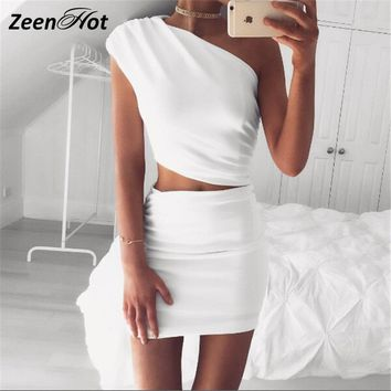 2 Piece Set Sexy Womens Dress one shoulder White mini dress Bodycon Party Dress Night Club Wear Outfits vestidos