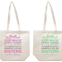 God made Us Best Friends Very Cute Girl BFFS Canvas Tote Bag