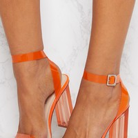 Orange Coloured Clear Strappy Heel