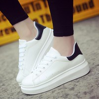Women Sneakers 2018 Women Caual shoes woman Spring Autumn Soft  Leather Sneakers Women White Shoes Lace-up Platform Shoes
