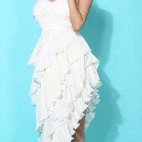 Sexy European Style Cropped Ruffled Tiers Strapless Dress from styleonline