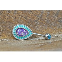 Purple Opal Belly Button Rings Opal Belly Rings