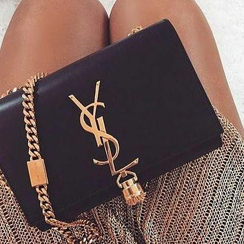 YSL Yves Saint laurent Fashion Leather Crossbody Satchel Shoulder Bag