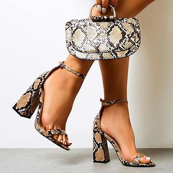 New large size women's shoes sexy snake print word with thick heel high heel sandals