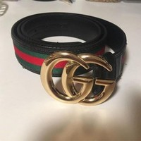 DCCK8 GUCCI Stylish Ladies Men Personality Red Green Stripe Metal Smooth Buckle Leather Belt I