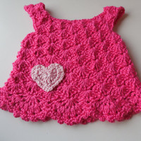 Baby Girl Dress Jumper Hot Pink with Heart - 0 to 3 Months - Handmade Crochet - Ready to Ship