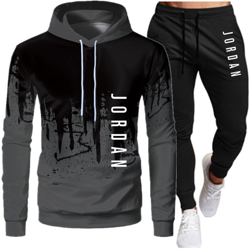 Image of 2 Pieces Sets Tracksuit Men Hooded Sweatshirt+pants Pullover Hoodie Sportwear Suit Ropa Hombre Casual Men Clothes Size S-4XL