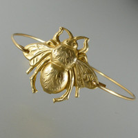 Gold Large Bumble Bee Bangle Bracelet, Gold Bangle Bracelet, Gold Bracelet, Steampunk, Insect Jewelry, Bee Jewelry (179G)