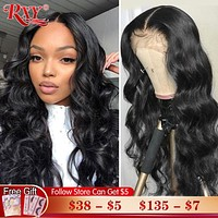 RXY Body Wave Lace Front Wig 250 Density Lace Front Human Hair Wigs