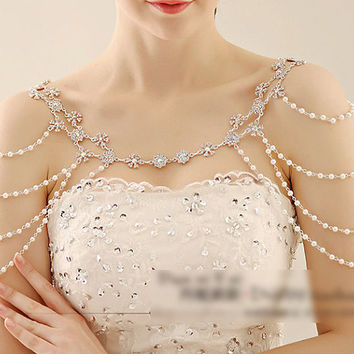 Wedding Dress Shoulder Jewellry, Bridal Epaulettes, Rhinestone and Pearl Shoulder, Wedding Accessory, Bridal Accessory  NL052