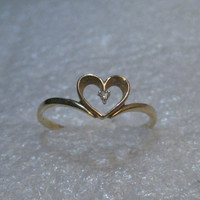 14kt Gold Heart Diamond Ring, Promise Ring, size 9, 1.21 grams, signed R inside Diamond Outline