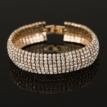 Gold and Silver plated  Classic Crystal Pave Link Bracelet Bangle Fashion Full Rhinestone Jewelry for Women