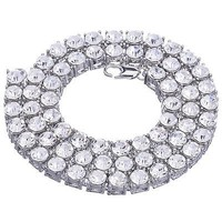 """Jewelry Kay style Men's Luxury Fully Iced Out 8 mm Round Stone Tennis Chain Necklace 24"""" S"""
