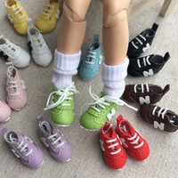 One pair 3cm fashion classic PU doll sport shoes accessories for 1/8 BJD blyth Pullip Licca Azone Barbi dolls accessories