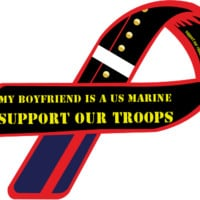 Custom Ribbon: My Boyfriend Is A US Marine / Support Our Troops